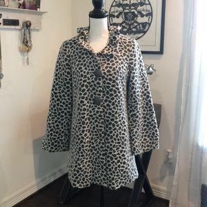 3 Sisters Black & White Animal Print Coat